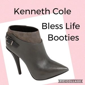 Kenneth Cole Bless Life Gray Leather Booties